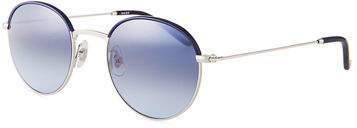 Garrett Leight Cloy Round Stainless Steel Sunglasses w/ Acetate Trim