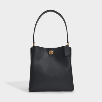 Coach Charlie Bucket In Black Polished Pebble Leather
