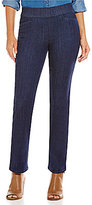 Intro Sheri Pull-On Straight Leg Pintuck Denim Pant