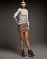 Drapey Leather Miniskirt