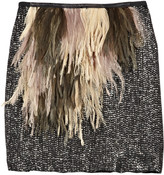 J.Crew Fluttery feather and sequin silk skirt