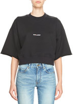 Saint Laurent Cropped Half-Sleeve Logo Sweatshirt