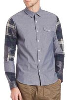 Mostly Heard Rarely Seen Patchwork-Sleeve Chambray Shirt