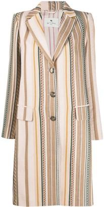 Etro Striped Longline Coat