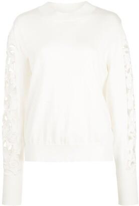 Oscar de la Renta Floral Cut-Out Sweater