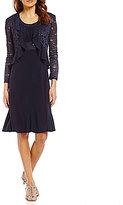 R & M Richards Lace Sequin Jacket Dress