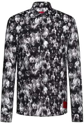 HUGO Ero Extra Slim-Fit Graphic Crowd Shirt