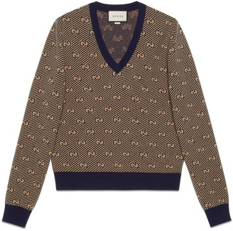 Gucci GG stripe wool V-neck sweater