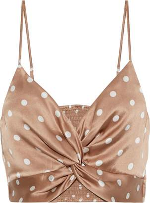CAMI NYC The Kensie Cropped Twist-front Polka-dot Silk-charmeuse Camisole