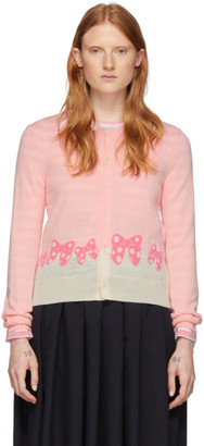 COMME DES GARÇONS GIRL Pink and White Disney Edition Ribbons Cardigan