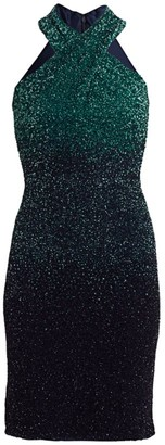 Pamella Roland Ombre Sequin Halter Mini Dress