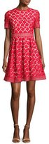 Shoshanna Short-Sleeve Pleated Lace Fit-and-Flare Dress, Red