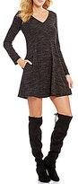 I.N. San Francisco Printed Lace-Up Back Knit Shift Dress