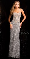 Scala Damask Sequin Motif Evening Dress