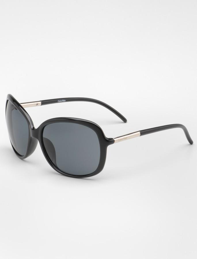 Calvin Klein Wide Square Plastic Sunglasses
