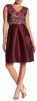 Sangria Lace V-Neck Flare Dress (PETITE)