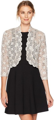 R & M Richards R&M Richards Women's 1 Piece Laced Shrug with Sequins Missy in Champagne