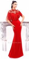 Tarik Ediz Rosette Evening Dress