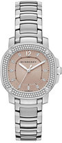 Burberry 34mm Octagonal Stainless Steel Watch with Diamonds