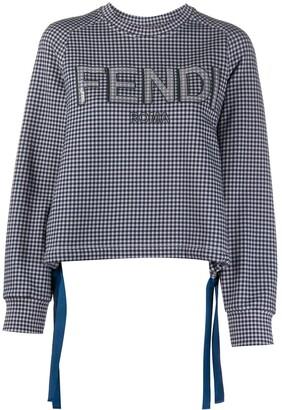 Fendi Sequin Logo Checked Sweatshirt