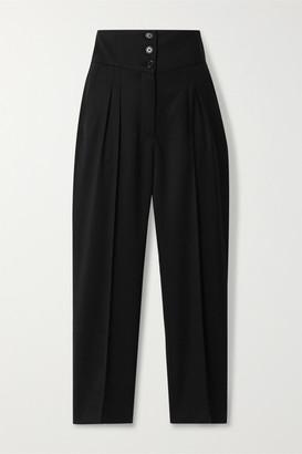 Nili Lotan Reta Cropped Wool-blend Twill Straight-leg Pants - Black