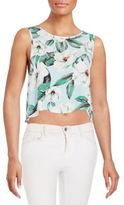MinkPink Draped Floral-Print Top