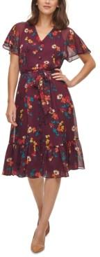 Calvin Klein Floral-Print Chiffon Flutter-Sleeve Dress