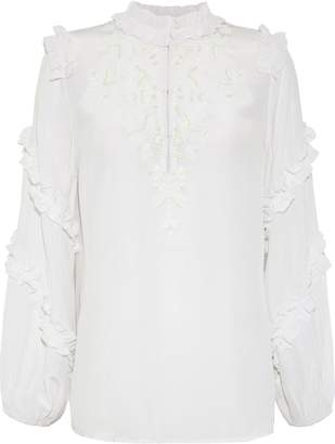Figue Amelia Ruffle-trimmed Embellished Silk Crepe De Chine Blouse