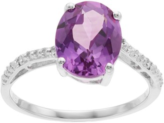 Sterling Silver Lab-Created Alexandrite & Diamond Accent Ring