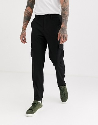 Selected slim fit taped cargo pants in black