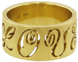Cathy Waterman Wide Carved Love Yellow Gold Band Ring