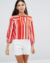 TFNC Striped Top With Tie Front