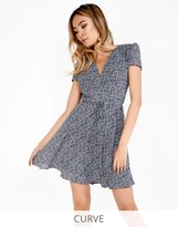 Glamorous Curve Printed V Neck Tea Dress
