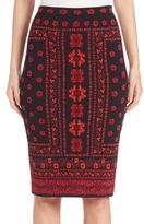 Alexander McQueen Floral Jacquard Intarsia Knit Pencil Skirt