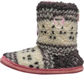 Bedroom Athletics Womens Jessica Fairisle Sherpa Fleece Slipper Boots Grey/Soft Pink