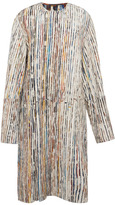 Calvin Klein Collection Patched Printed Snakeskin Strip Coat