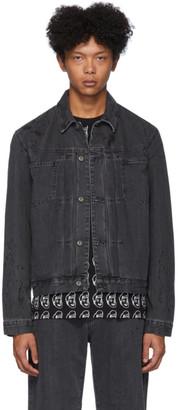 McQ Black Denim Pleated Body Jacket