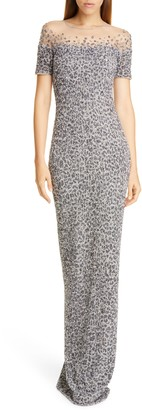 Pamella Roland Snow Leopard Crunchy Sequin Gown