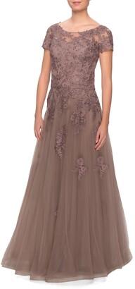 La Femme Lace Tulle Gown