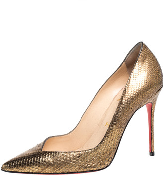 Christian Louboutin Metallic Gold Python Corneille Pointed Toe Pumps Size 38