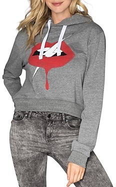 Chrldr Cropped Graphic Hooded Sweatshirt