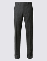 M&S Collection Grey Textured Tailored Fit Trousers