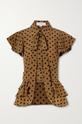 Michael Kors Pussy-bow Ruffled Polka-dot Silk-crepe Top - Light brown
