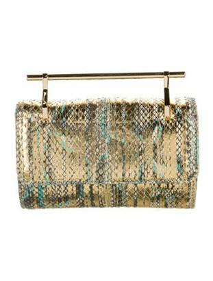 M2Malletier Metallic Top Handle Clutch Bag Gold