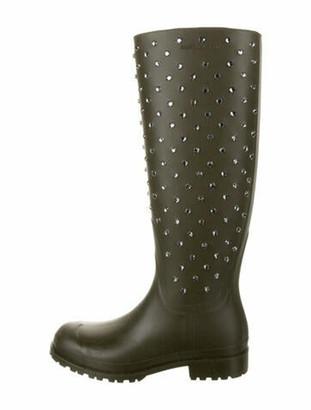 Saint Laurent Embellished Rain Boots Olive