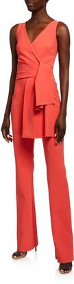 Chiara Boni Jay Sleeveless Tie-Front Jersey Jumpsuit