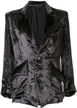 Sulvam Velvet Single-Breasted Blazer