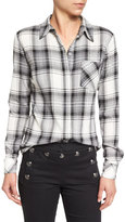 Veronica Beard Poppy Long-Sleeve Plaid Button-Front Shirt, Black/Gray/White