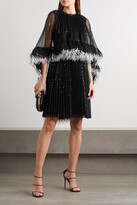 Thumbnail for your product : Huishan Zhang Dora Feather-trimmed Pleated Sequined Tulle Dress - Black