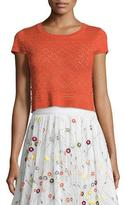 Alice + Olivia Tallie Beaded Pointelle Tee, Orange